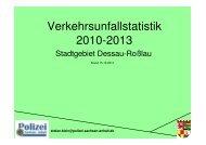Verkehrsunfallstatistik 2010-2013 - Dessau-Roßlau