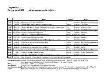 Speiseplan 2011 - Änderungen vorbehalten