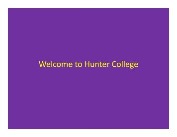 Non-Degree Students - Hunter College - CUNY