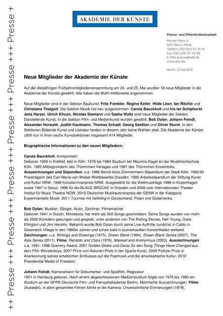 Biographische Informationen zu den neuen Mitgliedern
