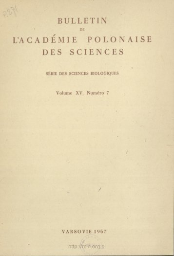 BULLETIN L'A C A D E M I E P O L O N A I S E DES SCIENCES