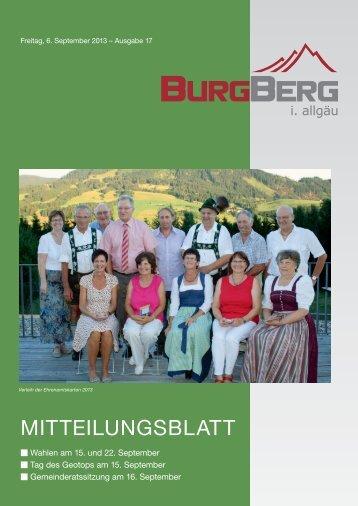 Burgberger Mitteilungsblatt Nr. 17/2013