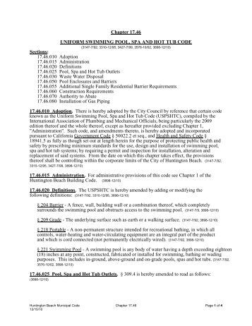 City of pomona building for Uniform swimming pool spa and hot tub code