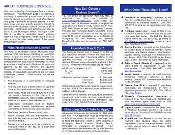 BUSINESS LICENSE INFORMATION - City of Huntington Beach