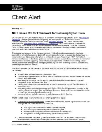 NIST Issues RFI for Framework for Reducing Cyber Risks - Hunton ...