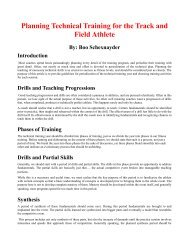 Planning Technical Training for the Track and Field Athlete By: Boo ...