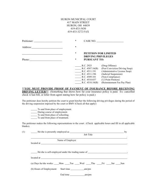 Request for Driving Privileges Form - City of Huron Ohio