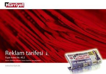 Reklam tarifesi - Hürriyet Avrupa