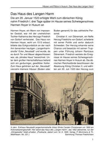 Das Haus des Langen Harm - Husum-Stadtgeschichte