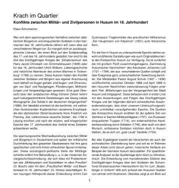 Krach im Quartier - Husum-Stadtgeschichte