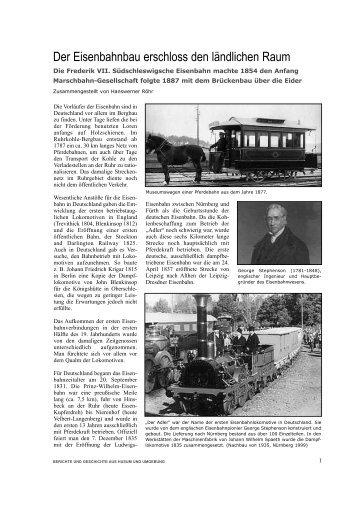Der Eisenbahnbau erschloss den ländlichen Raum - Husum ...