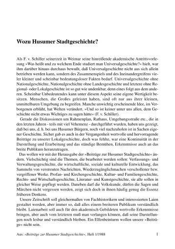 Wozu Husumer Stadtgeschichte? - Husum-Stadtgeschichte