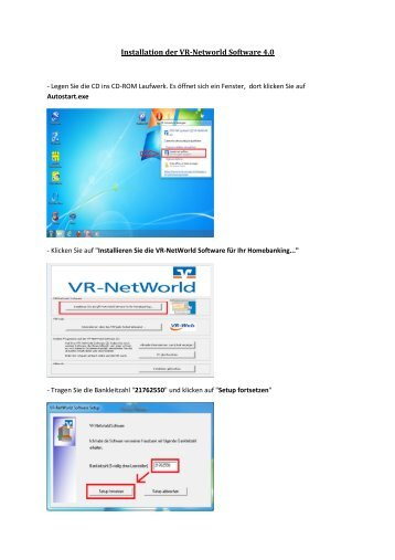 1. Installation der VR-NetWorld-Software 4.0 - Husumer Volksbank eG
