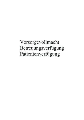 Vorsorgevollmacht, Betreuungs- und Patientenverfügung - Husumer ...