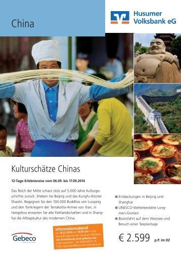 Reiseverlauf China 2014 - Husumer Volksbank eG