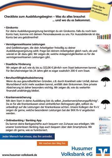 Checkliste zum Ausbildungsbeginn - Husumer Volksbank eG