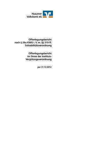 Offenlegungsbericht 2012 - Husumer Volksbank eG