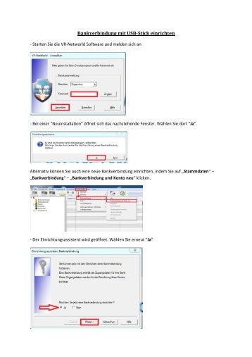 6. Bankverbindung mit USB-Stick einrichten - Husumer Volksbank eG
