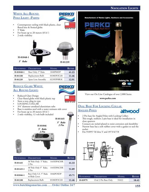 Perko 10603B0DP Plug-in MOUNTING Base 3-PIN