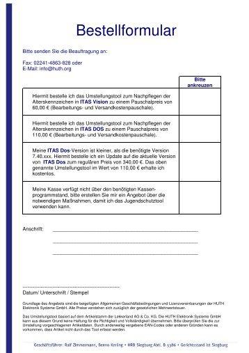Bestellformular - HUTH ELEKTRONIK SYSTEME GmbH