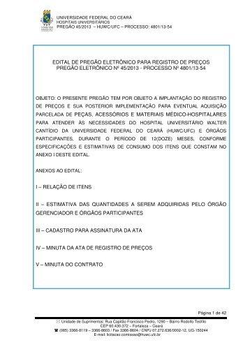 Baixar Edital - Hospital Universitário Walter Cantídio