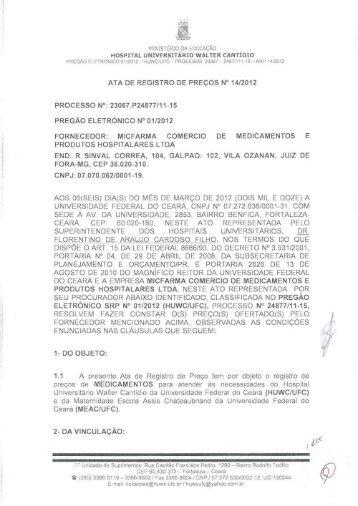 Ata Empresa Micfarma - Hospital Universitário Walter Cantídio