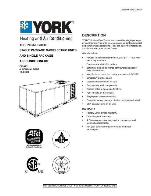 Y Tg Single Package Gas Electric Units And Single Package Ac