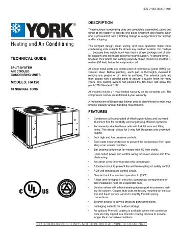Y-TG-Split System Air Cooled Condensing Units ... - Fldist-eng.com