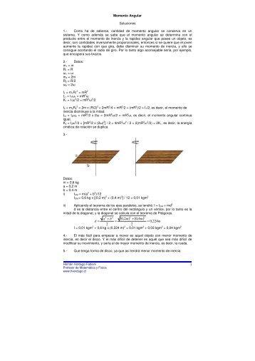 momento angular respuestas - Ejercicios de física y matemática