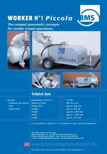 Brochure WORKER N° 1 Piccolo - BMS Bau-Maschinen-Service ...