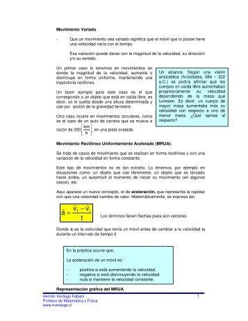 MRUA - contenido - Ejercicios de física y matemática