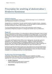 Procesplan for ændring af skolestruktur i Hvidovre Kommune