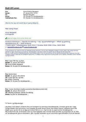 Henvendelse fra Yvonne Henriksen af 20. januar 2012 - Hvidovre ...