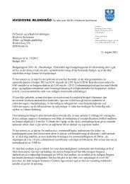 Ældrerådets høringssvar til budget 2013 - Hvidovre Kommune