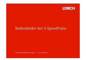 Bedienfelder der S-Speedpulse - Brüning Gmbh & Co.