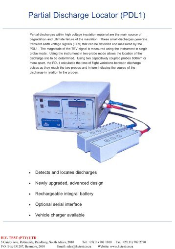 Partial Discharge Locator (PDL1). - HVTEST South Africa