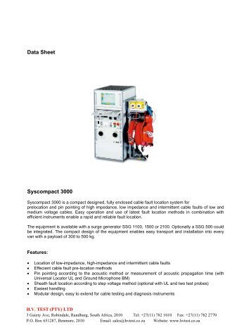 Data Sheet Syscompact 3000 - HVTEST South Africa