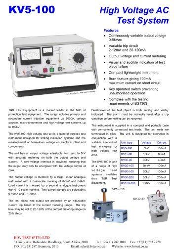 KV5-100 Data Sheet rev 3.pub - HVTEST South Africa