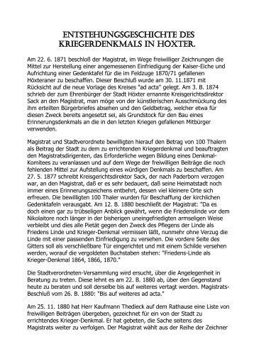 Entstehungsgeschichte des Kriegerdenkmals in Höxter
