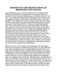 Beziehungen der Brüder Grimm zu Bökendorf und Höxter