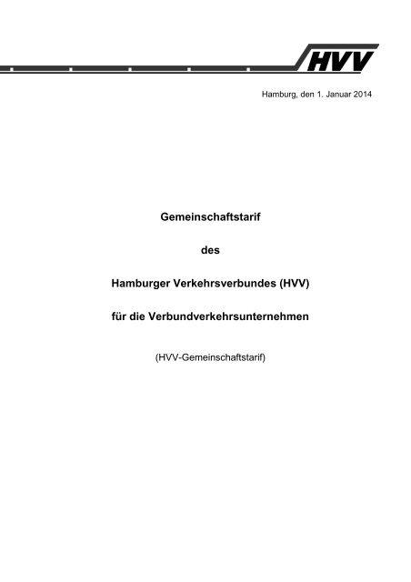 Gemeinschaftstarif des Hamburger Verkehrsverbundes (HVV) für ...