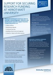 SUpport for SEcUrIng rESEarcH fUndIng at HErIot-Watt UnIvErSIty