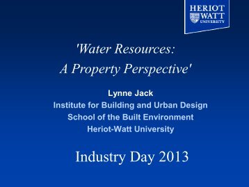Water Resources: A Property Prospective - Heriot-Watt University