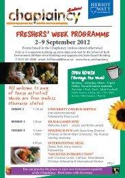 Chaplaincy events for Freshers' Week - Heriot-Watt University