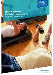 Exercise & fitness class programme - Heriot-Watt University