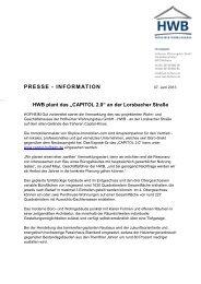 Pressemitteilung Projekt Capitol 2.0 - Hofheimer Wohnungsbau GmbH