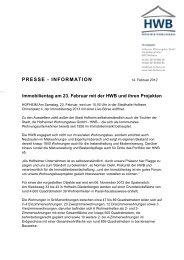Pressemitteilung Immobilientag am 23. Februar mit der HWB und ...