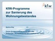 KfW-Programme zur Sanierung des Wohnungsbestandes