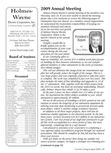 August 2009.pdf - Holmes-Wayne Electric Cooperative, Inc.