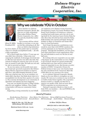 October - Holmes-Wayne Electric Cooperative, Inc.